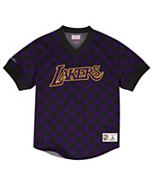 5081880f6cde Mitchell & Ness Men's Los Angeles Lakers Kicking It Wordmark Mesh T-Shirt