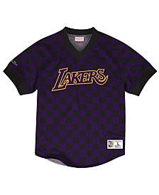 Mitchell & Ness Men's Los Angeles Lakers Kicking It Wordmark Mesh T-Shirt