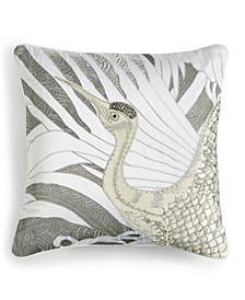 "CLOSEOUT! Crane Appliqué 18"" x 18"" Decorative Pillow, Created for Macy's"