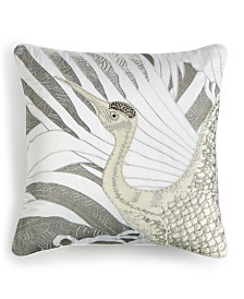 "Home Design Studio Crane Appliqué 18"" x 18"" Decorative Pillow, Created for Macy's"