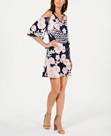 Connected Petite Floral Cold-Shoulder Dress