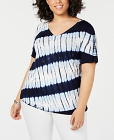 I.N.C. Plus Size Tie-Dye T-Shirt, Created for Macy's