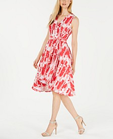 Faux-Wrap Printed A-Line Dress
