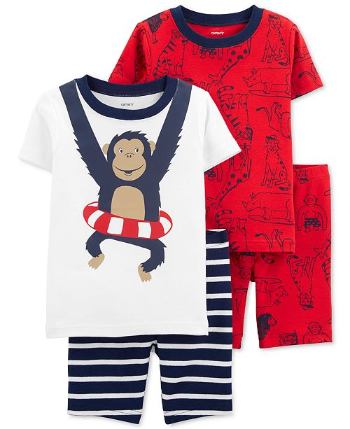 Carter's Baby Boys 4-Pc. Monkey Cotton Pajamas Set