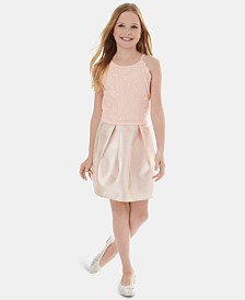 BCX Big Girls 2-Pc. Glitter Lace Top & Foil Skirt Set