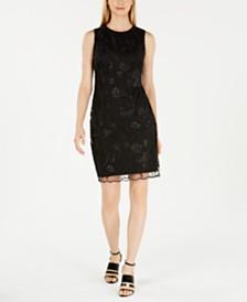Calvin Klein Embroidered Sequin Sheath Dress