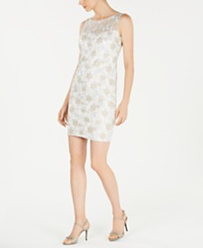 Calvin Klein Metallic-Embroidered Sheath Dress