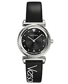 Women's Swiss V- Motif Black Leather Strap Watch 35mm
