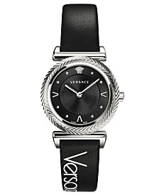 Versace Women's Swiss V- Motif Black Leather Strap Watch 35mm