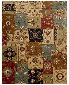 CLOSEOUT! Nourison Round Area Rug, Rajah Collection  JA37 Dark Patchwork 8'