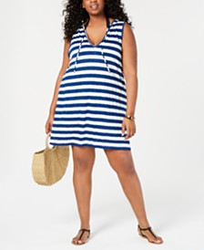 Miken Plus Size Sleeveless Hooded Swim Cover-Up