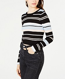 Juniors' Striped Rib-Knit Cropped Sweater, Created for Macy's