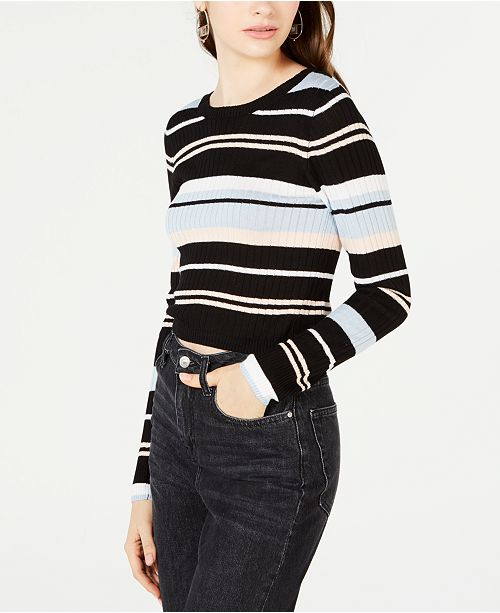 Material Girl Juniors' Striped Rib-Knit Cropped Sweater, Created for Macy's
