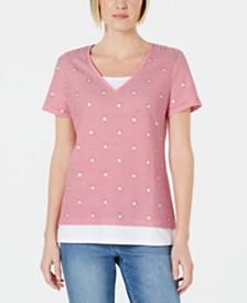 Karen Scott Petite Micro-Stripes & Stars T-Shirt, Created for Macy's