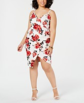a629e39d981 Almost Famous Juniors  Trendy Plus Size Printed Faux-Wrap Dress