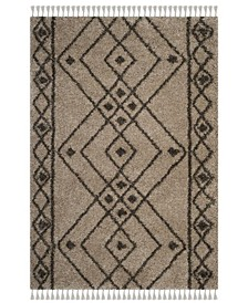 "Moroccan Fringe Shag Mushroom and Gray 6'7"" X 6'7"" Square Area Rug"