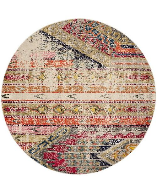 Safavieh Monaco Light Gray and Multi 9' x 9' Round Area Rug