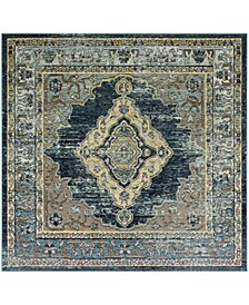 Crystal Blue and Yellow 7' x 7' Square Area Rug