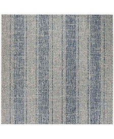 "Safavieh Courtyard Light Gray and Blue 6'7"" x 6'7"" Sisal Weave Square Area Rug"