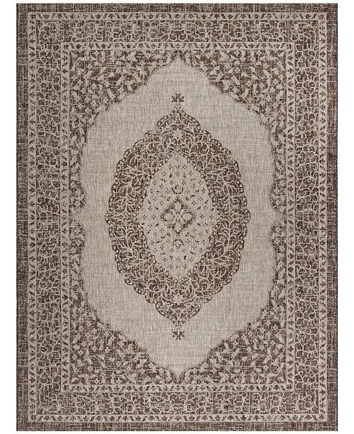 """Safavieh Courtyard Light Beige and Light Brown 6'7"""" x 6'7"""" Sisal Weave Square Area Rug"""