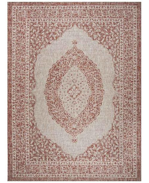 Safavieh Courtyard Light Beige and Terracotta 8' x 11' Sisal Weave Area Rug