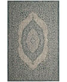 "Safavieh Courtyard Light Gray and Teal 2' x 3'7"" Sisal Weave Area Rug"