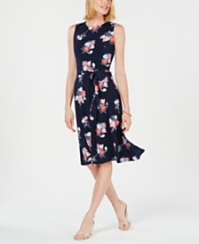 Charter Club Petite Floral-Print Midi Dress, Created for Macy's