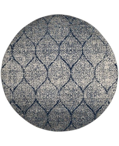 Safavieh Madison Navy and Silver 5' x 5' Round Area Rug