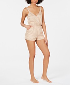 I.N.C. Printed Contrast Trim Romper, Created for Macy's