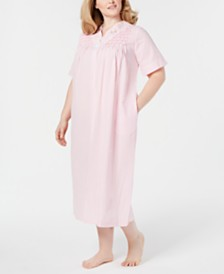 Miss Elaine Plus Size Seersucker Long Zipper Robe