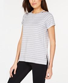 Calvin Klein Performance Striped Cuffed High-Low Hem T-Shirt