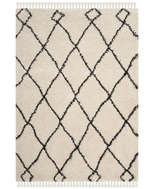 "Safavieh Moroccan Fringe Shag Cream and Charcoal 6'7"" X 9'6"" Area Rug"