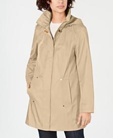 Jones New York Snap-Button Water-Resistant Hooded  Raincoat