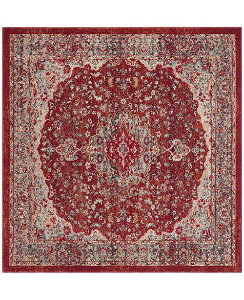 Safavieh Merlot Red and Aqua 6' x 6' Square Area Rug