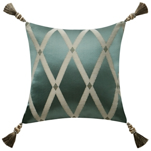 """Waterford Anora 16"""" X 16"""" Square Collection Decorative Pillow Bedding In Jade/brass"""