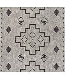 "Safavieh Courtyard Gray and Black 5'3"" x 5'3"" Square Area Rug"