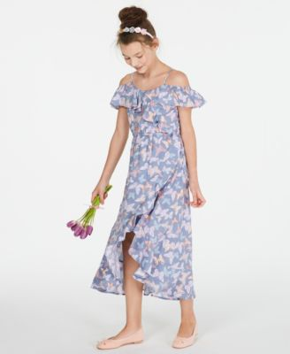 Big Girls Ruffle-Trim Butterfly-Print Maxi Dress, Created for Macy's