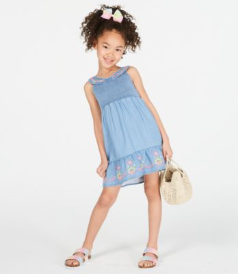 Little Girls Smocked Embroidered Dress, Created for Macy's