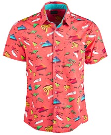 Maui and Sons Men's Miami Modern-Fit Tropical-Print Shirt