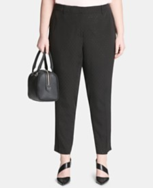 Calvin Klein Plus Size Dot Jacquard Ankle Pants