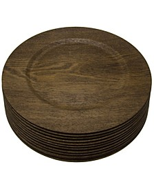 "12 Piece 13"" Melamine Wooden Skin Luxe Chargers"