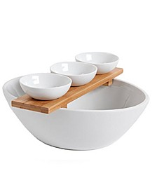 3 Piece Tidbit Serving Set with Bowls and Bamboo Tray