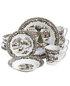 Christmas Toile 16 Piece Dinnerware Set