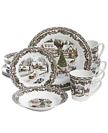 Christmas Toile 16 Piece Dinnerware Set