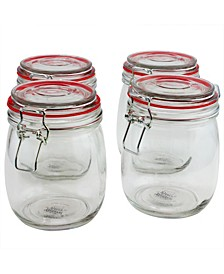 4 Piece 22 Ounce Preserving-Storage Jar Set with Wire Bail and Trigger Closure