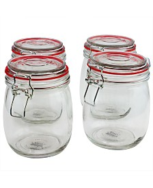 Cottage Chic 4 Piece 22 Ounce Preserving-Storage Jar Set with Wire Bail and Trigger Closure