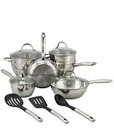 Oster Ridgewell 13 Piece Stainless Steel Belly Shape Cookware Set in Mirror Polish with Hollow Handle