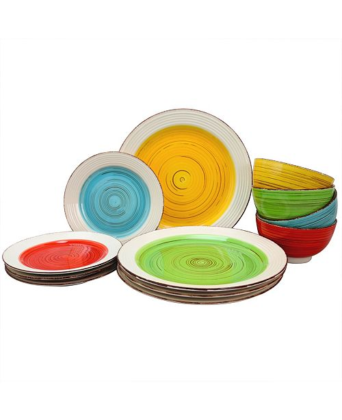 Gibson Home Confetti Band 12 Piece Mix and Match Dinnerware Set