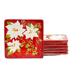 "Laurie Gates Pleasant Poinsettia 8 Piece 8.5"" Dessert Plate Set"