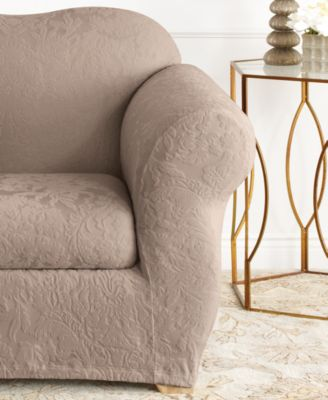 Stretch Jacquard Damask 2-Piece Chair Slipcover